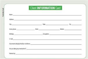 customer information card template keeping tabs on clients by using client cards business