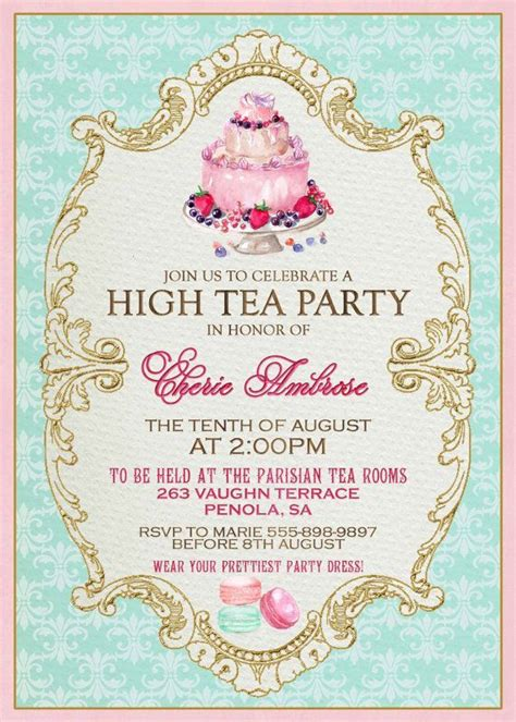 high tea invitation template 25 best ideas about high tea invitations on