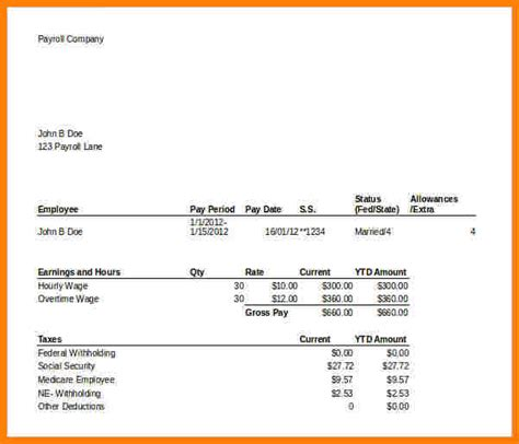 7 Paycheck Stub Template For Excel Sles Of Paystubs Payroll Portal Pay Stub Template