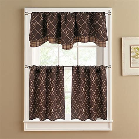 Brown Valance Curtains Oh Deer Layer Window Valance In Brown Bed Bath Beyond