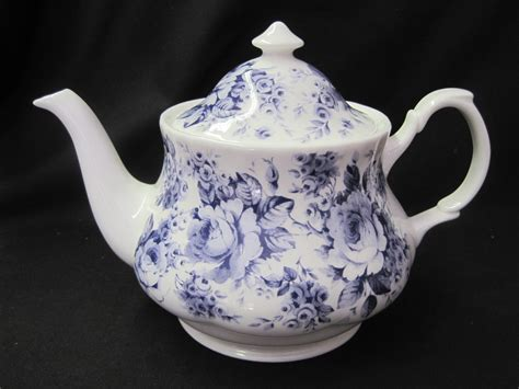 Blue English Chintz Teapot by Roy Kirkham ? The Teapot Shoppe, Inc.