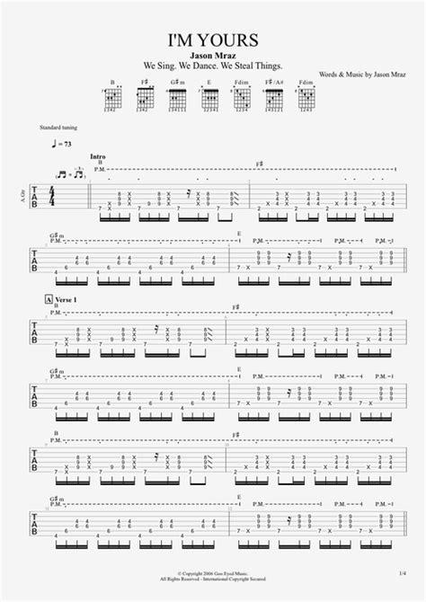 I'm Yours by Jason Mraz   Full Score Guitar Pro Tab   mySongBook.com