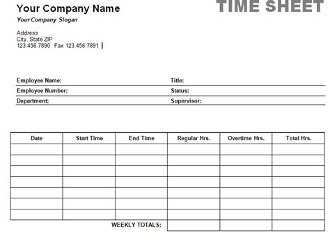 simple weekly timesheet printable weekly time sheet