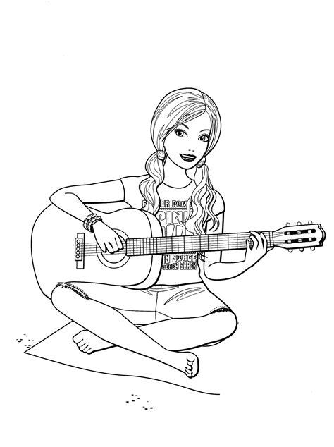 Coloriage - Barbie avec guitare