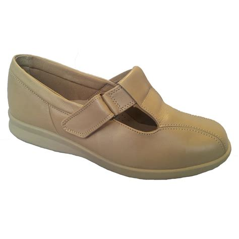 easy b womens rowena beige leather velcro shoes