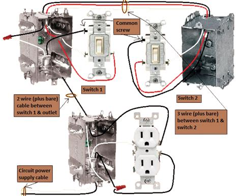3 way switch wiring diagram with receptacle 43 wiring
