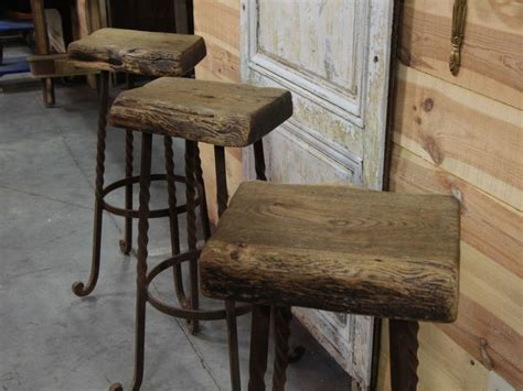 Reclaimed Wood Bar Stool Industrial Iron And Reclaimed Wood Bar Height Stools From Maisondecorantiques On Ruby