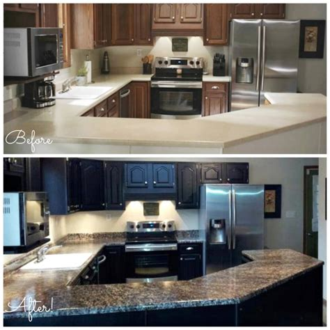 Updating Kitchen Cabinets On A Budget by Paint Laminate Countertops To Look Like Natural Stone