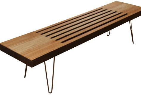 Handcrafted Modern - handcrafted modern slatted wooden bench chairish