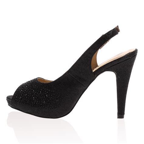 womens slingback black sparkly stiletto heel