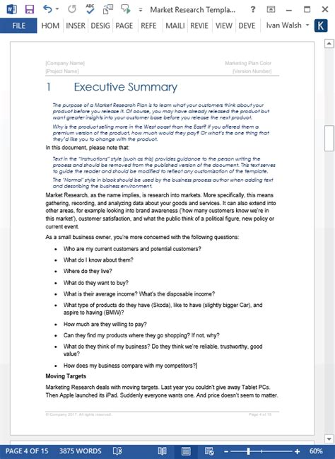 market research document template market research templates 10 word 2 excel