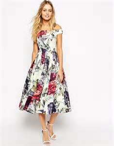 asos asos bardot floral midi prom dress at asos