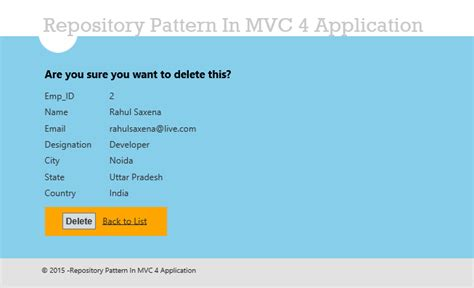 repository pattern with entity framework in mvc 4 repository pattern in mvc application using entity framework