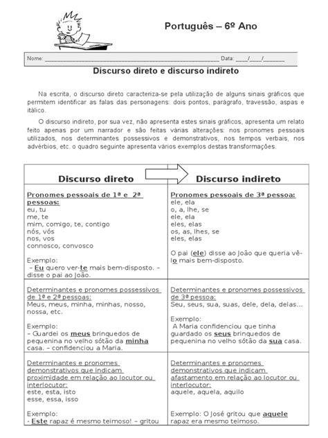 Ficha de Reforço Sobre Discurso Direto e Discurso Indireto