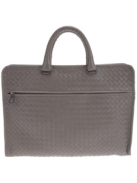 Bottega Veneta Woven Briefcase by Lyst Bottega Veneta Intrecciato Briefcase In Gray For