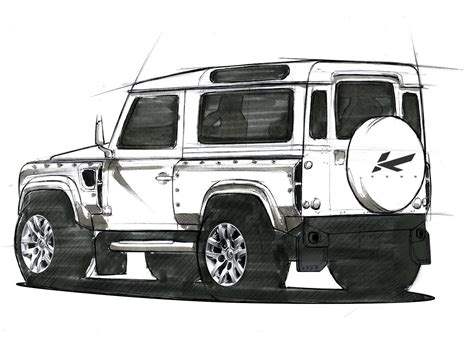 land rover discovery drawing kahn design to give the land rover defender a military