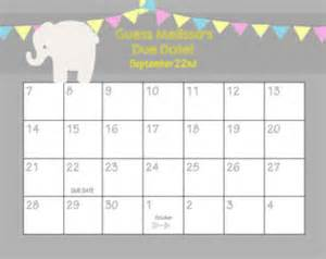 Baby Calendar Template by Printable Guess Baby Date Calendar Template 2016