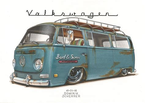 volkswagen bus painting 69 vw bus t2 by dominikscherrer on deviantart
