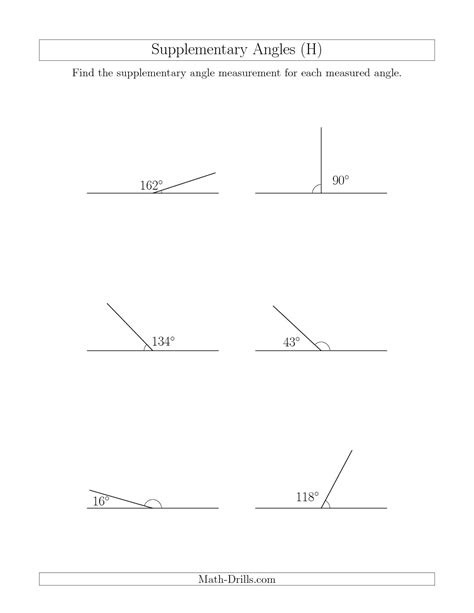 Complementary And Supplementary Angles Worksheets by 12 Best Images Of Supplementary Angles Worksheet