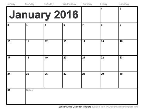 Calendar Templates Free 2016 January 2016 Calendar Template