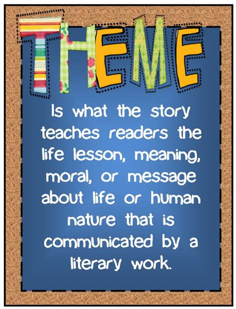 themes for english literature 57 best images about theme reading anchor charts on
