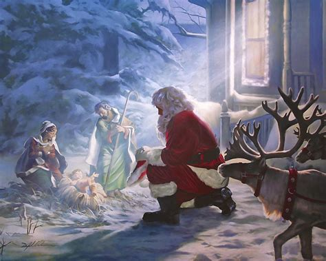 santa paying homage painting by danny hahlbohm