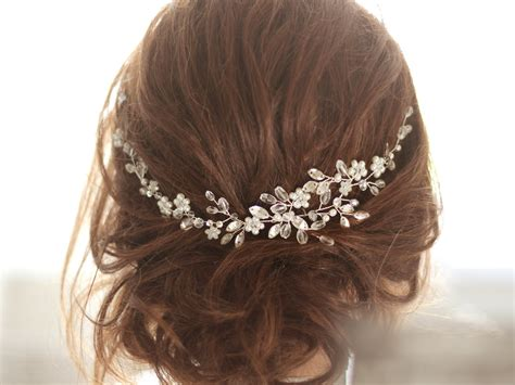 Wedding Hair Pieces For by Bridal Headpiece Bridal Hair Cristal And Pearl