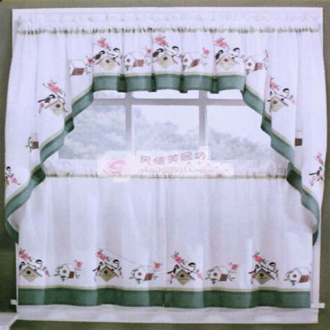 rustic embroidery cotton kitchen curtain coffee curtain