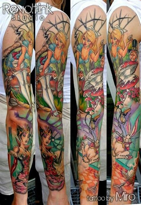 alice in wonderland tattoo sleeve pin up in sleeve it tattoos