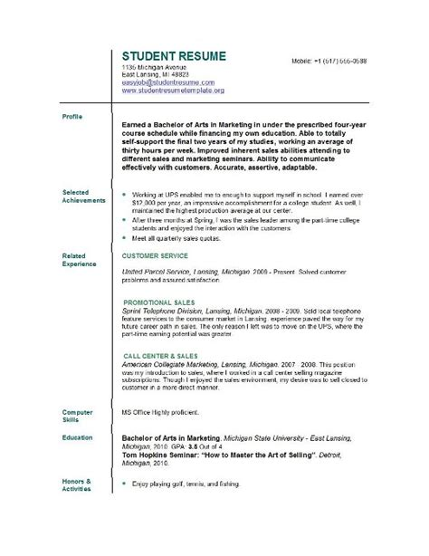 Resume Cover Letter Sles For College Students Student Resume Templates Student Resume Template Easyjob
