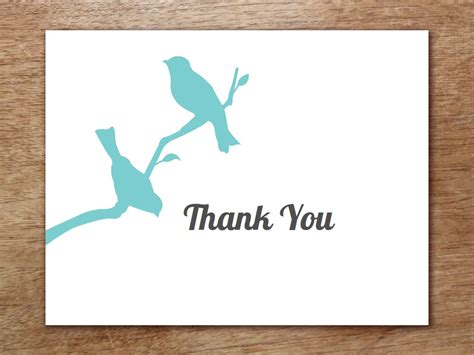 Thank You Cards Template Wedding Back by Thank You Card Template Birds