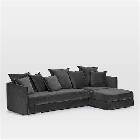 3 piece chaise sectional serene 3 piece chaise sectional west elm