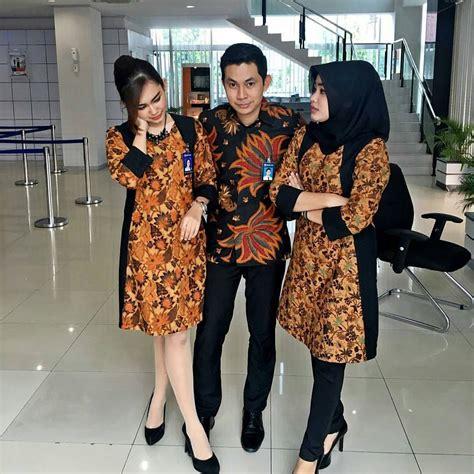 Outer Kimono Cewe inspirasi model baju batik kerja wanita muslimah terbaru 2017
