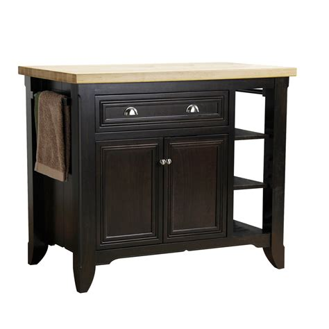 kitchen island lowes shop allen roth 42 in l x 24 in w x 36 in h chocolate