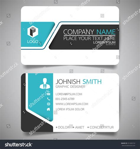 Business Card Clean Template Design by Blue Modern Creative Business Card Name Stock Vector