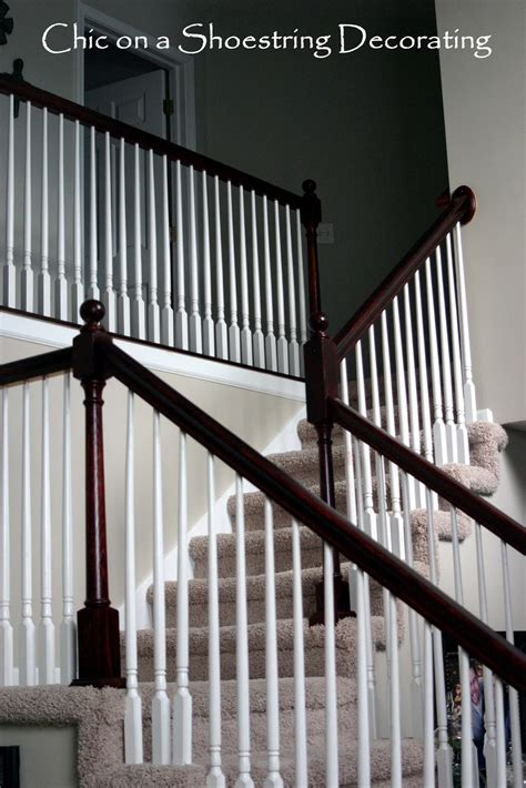 wood banister railing chic on a shoestring decorating how to stain stair