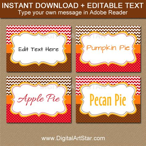 editable place card template thanksgiving printable fall food labels fall place cards digital