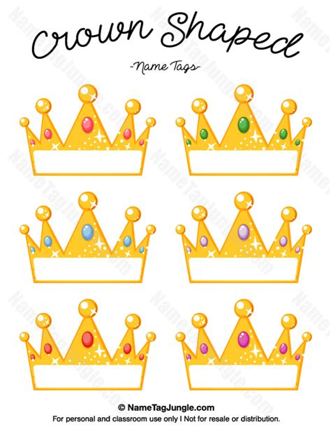 Crown Papercraft - free printable crown shaped name tags the template can