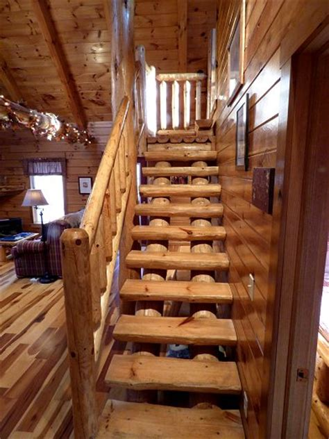 Log Cabin Stairs by Luxury Hocking Ohio Cabin Rental Loft Cabin