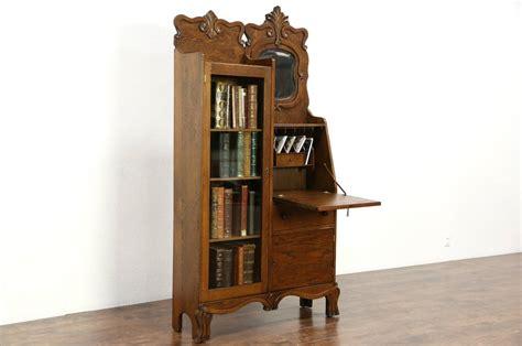 Victorian Antique 1900 Carved Oak Side By Side Secretary Antique Side By Side Desk