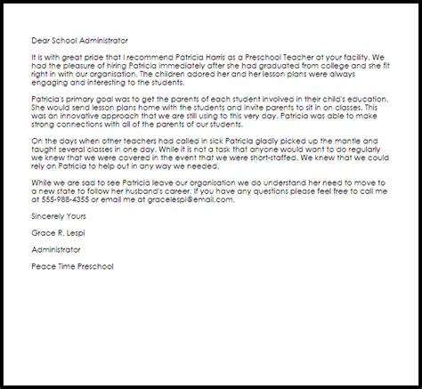 Preschool Teacher Recommendation Letter   LiveCareer