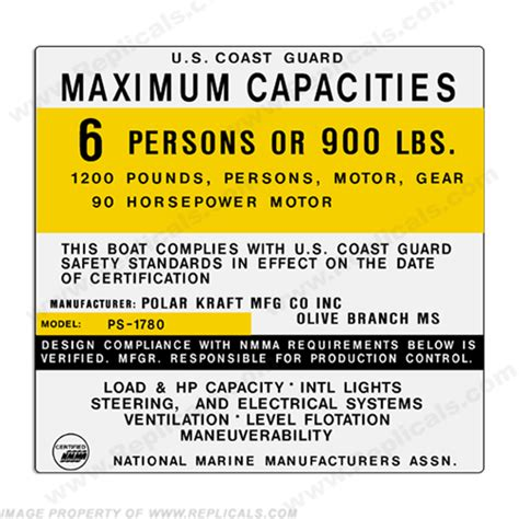 coast guard flat bottom boat capacity sticker for boat satu sticker