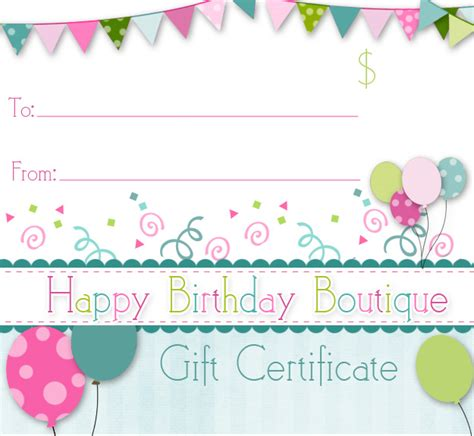 printable happy birthday gift certificates 75 dollar gift certificate to happy birthday boutique
