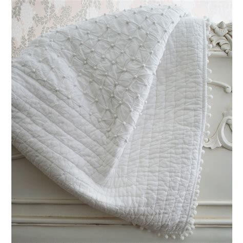 bed throw pom pom white blanket throw bedspread french bedroom company