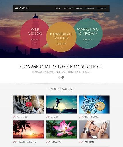 Template 49517 Video Production Responsive Bootstrap Website Template Best Web Templates Videography Website Template