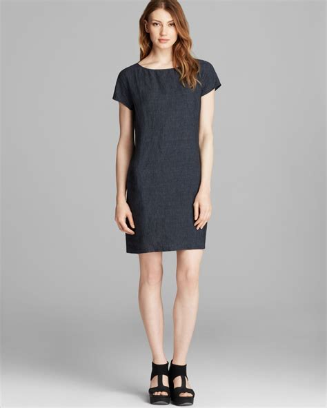 Shift Dresses by Lyst Eileen Fisher Cap Sleeve Shift Dress In Blue