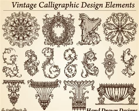 vintage design elements font vintage calligraphic design elements vector vector