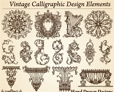 vintage pattern photoshop brushes vintage calligraphic design elements vector vector
