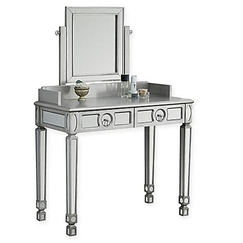 Silver Vanity Table With Mirror And Bench Vanity Table And Mirror In Silver Bed Bath Beyond
