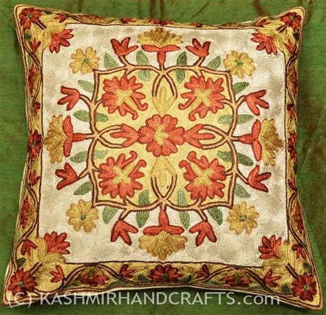 floral couch pillows embroidered floral pillows archives kashmir fine arts